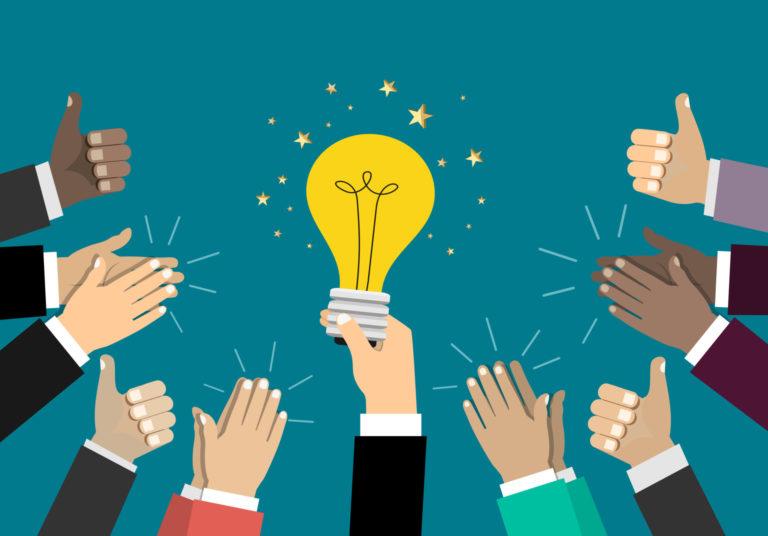 Businessman Holding Up A Idea. Good Idea. Business Concept.