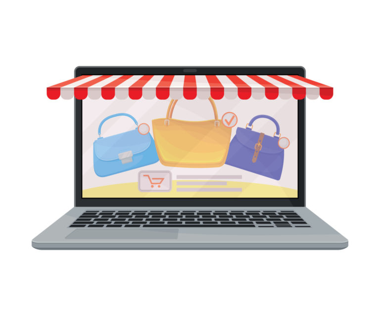 Laptop Screen With Online Shop Web Site Page And Product Catalog Vector Illustration