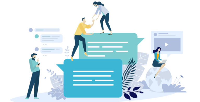 Vector Illustration Concept Of Online Communication, Social Media, Networking, Community Group. Creative Flat Design For Web Banner, Marketing Material, Business Presentation.