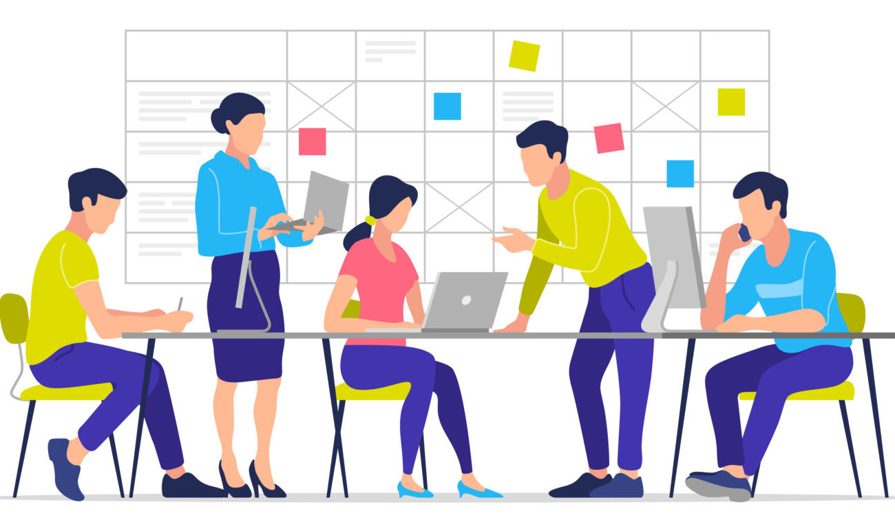 Business Process, Teamwork, Office, Workplace, Business Characters. Vector Illustration.