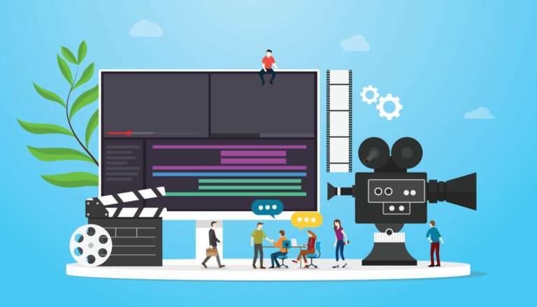 Film Video Production Concept With Team People And Camera Editing With Team People With Flat Modern Style Vector
