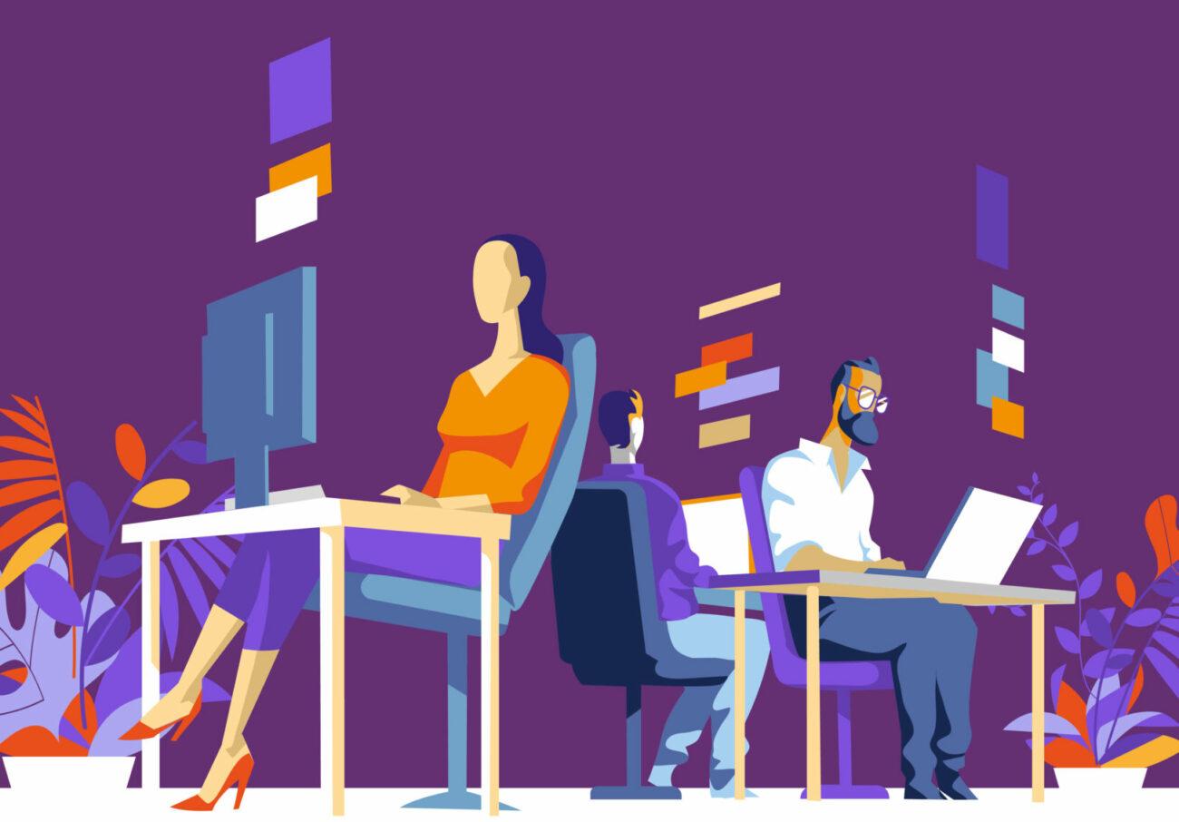 Impiegati, Colleghi Lavorano Sul Computer In Ufficio Illustrazione Vettoriale